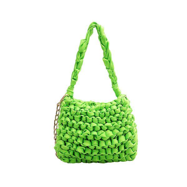 Women Woven Handbag Neon Green Orange Shoulder Bag Summer Vacation Fluorescent color Purses Ladies Party Phone Messenger Bag