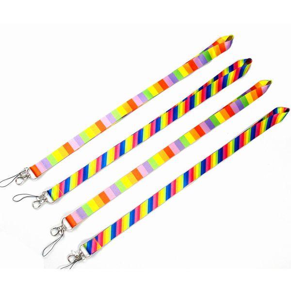 Rainbow Neck Lanyard ID Badge teléfono celular Cordón Llavero Poliéster Cordón para teléfono móvil