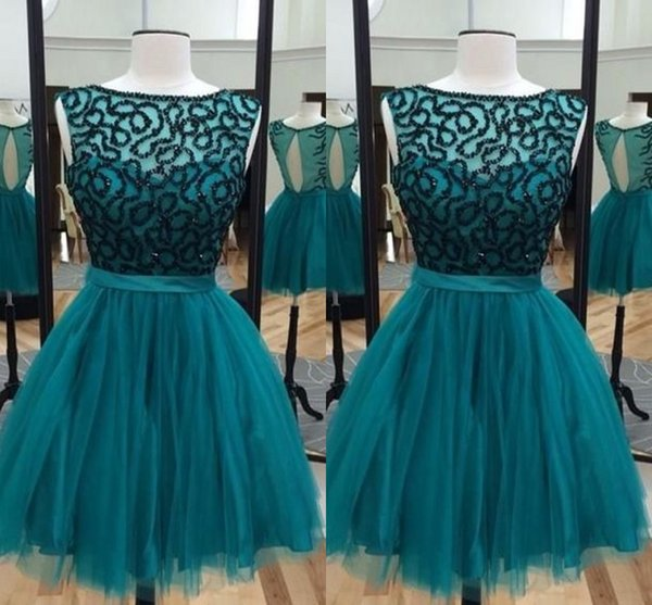 2019 Real Photo Teal Sheer Neck Short Graduation Prom dresses Hollow Back Tulle Beading Top Cheap Evening Homecoming Party Dress Cheap