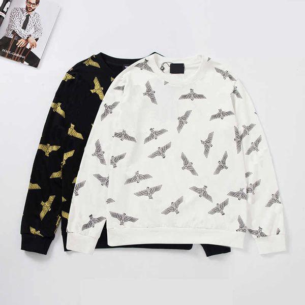 designer men brand hoody black and white luxury design animal printed men brand hoody round neck long sleeve autumn spring men hoodies