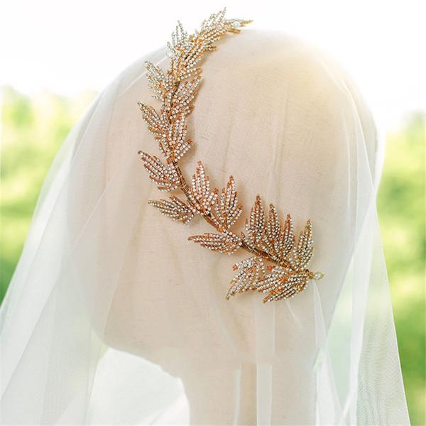 Feuille de mariée Coiffe cristal strass Bandeau Couronne Tiara Hairband Ornement de mode de bal Femmes Coiffe Bijoux Feuilles cadeau