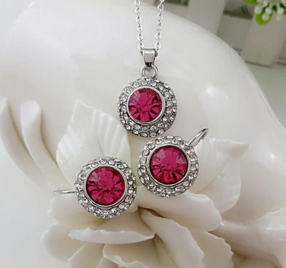 Wholesale Circular style Necklace Pendant Earring suit Inlaid Austria Crystal Earring Use Swarovski elements Twinkle 3 pieces jewelry sets