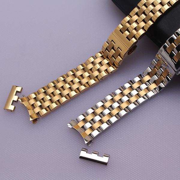 Cinturino in oro argento e oro colore orologio accessori per orologi da polso da uomo di marca moda estremità curve e cinturino orologio dritto fine 22mm caldo