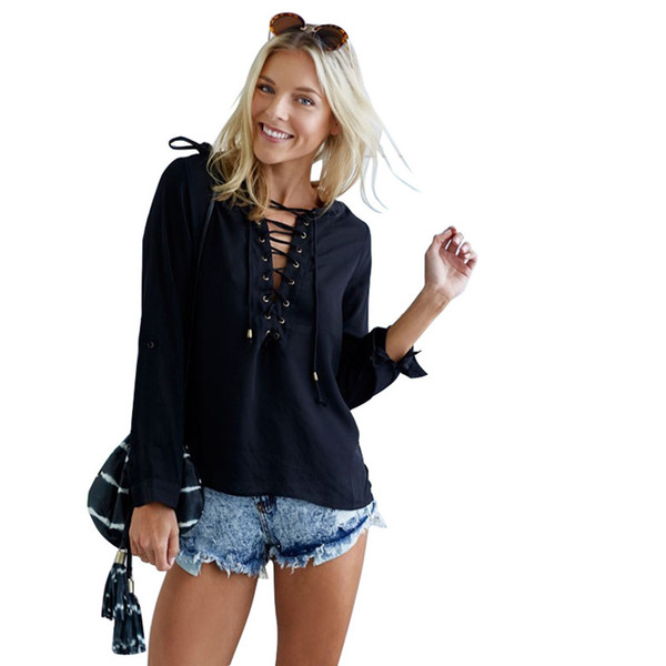 Women Chiffon Blouse Sexy Chest Straps Black S XL V-Neck Chiffon Shirt New Arrival High Quality Female Casual Tops Wholesale
