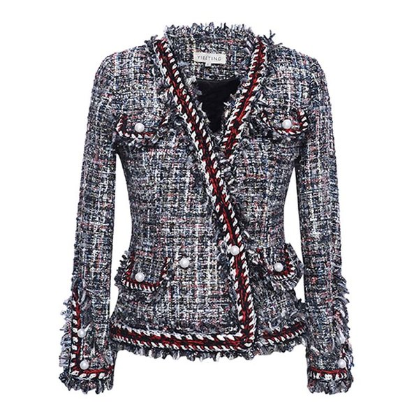 jacket high quality spring/autumn / winter jacket coat knitted bordered pearl button small ladies long-sleeve short jacket