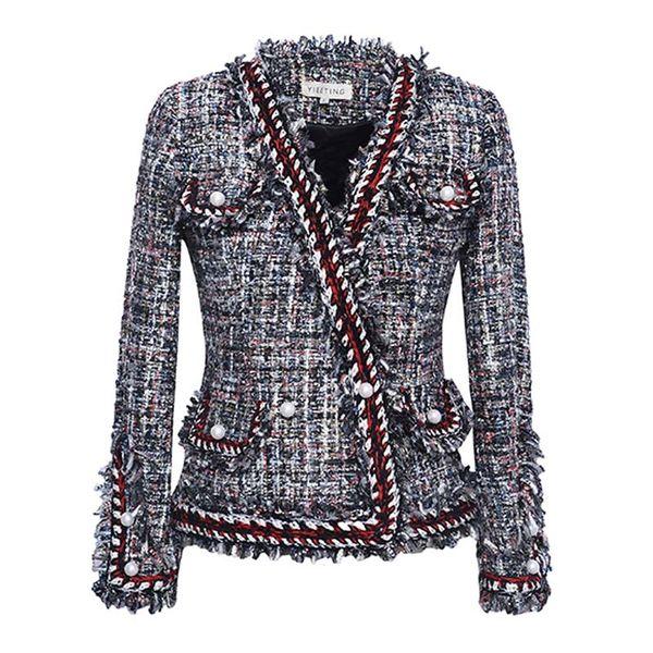 куртка высокого качества весна / осень / зима куртка пальто трикотажного жемчуга окаймленная маленькая женская с длинным рукавом с коротким рукавом куртки