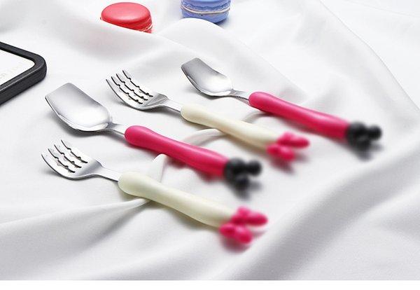 best selling Kids Cartoon Stainless Steel Dinnerware Portable Mouse Pattern Spoon Fork Flatware Cute Children Home Travel Cutlery dinner set