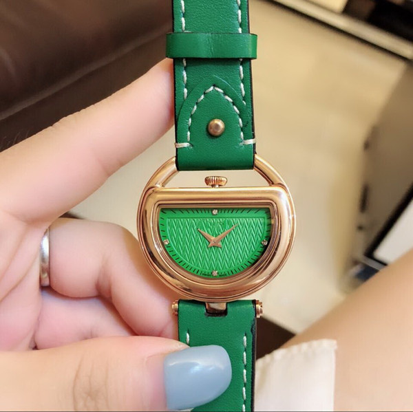 QUARTZ Rose Gold 36 MM CASE GREEN LEDERGUERTEL weisefrauenuhr Großhandel Luxus neuen Edelstahl-Uhren der Frauen