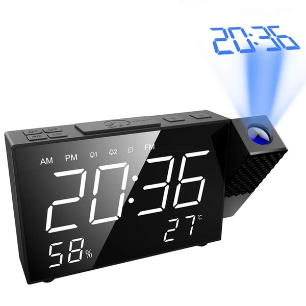 TOP! -Proyección Reloj despertador, 6,5 pulgadas de proyección de reloj, radio FM con temperatura y humedad, 12/24 hora, alarma dual con U
