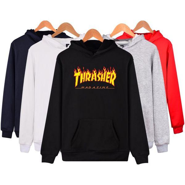 Autumn Winter Men Sportswear Hooded Sweatshirts Europe American 6 Colors Fire Letters Hooded Men Women Plus Cashmere Sweater Hoodies