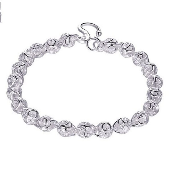 Simple Hollow Heart Ball Bracelet for Women Couples Anklet 925 Sterling Silver Heart Bracelet For Friendship Best Friend Free Shipping