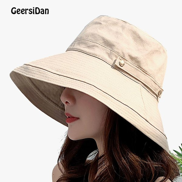 Summer Wide Brim Sun Hats for Women Breathable Outdoor UV Protection Top quality Bucket Hats Sport Fishing caps for women