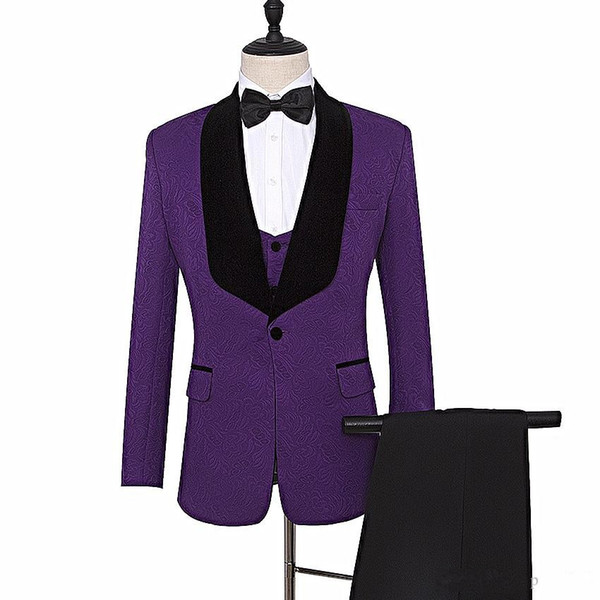 Embossing Groom Tuxedos Purple Mens Wedding Tuxedos Black Velvet Lapel Side Vent Man Jacket Blazer 3 Piece Suit(Jacket+Pants+Vest+Tie) 63