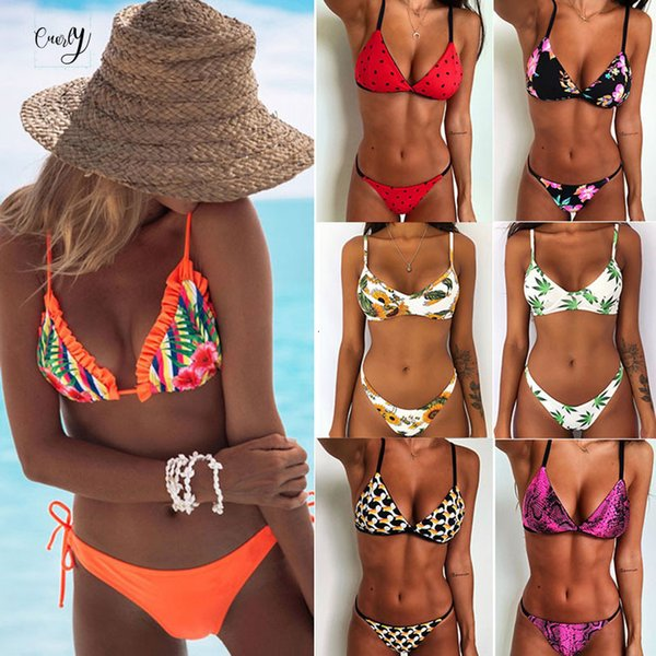 Sexy Floral Print Bikinis Womens Women Swimsuit Brazilian Bikini Set Push Up Bandage Biquini Bikinis Feminino Swimwear Swimming Suit