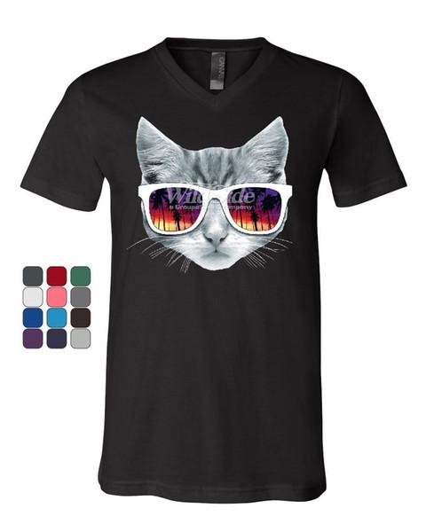 T-shirt con scollo a V gattini con occhiali da sole Gattini con gattini carini amanti da gatti Tee Style T-shirt con stampa t-shirt tinta unita