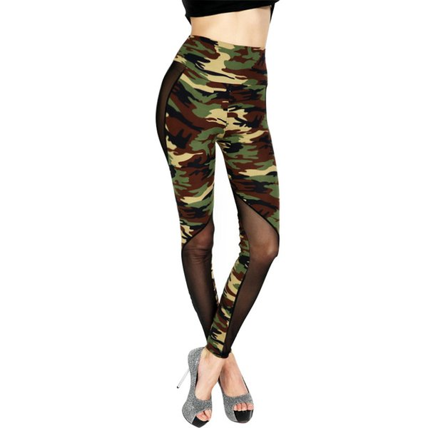 Sexy Mesh Leggings Women Camouflage Printed Classic Trousers Female Army Green Stretch Slim High Waist Workout Jeggings