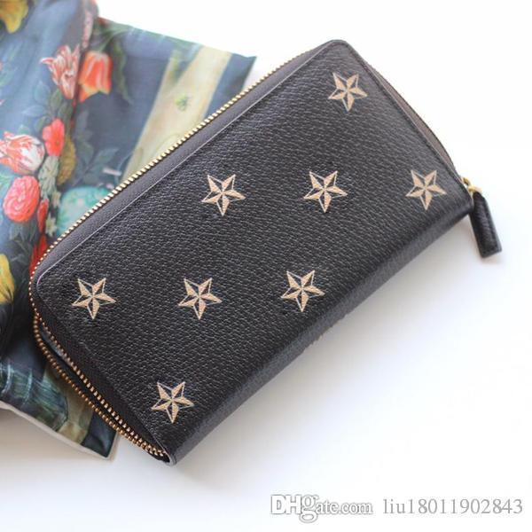 Borsetta a forma di ape, borsa con stella, portafoglio con cerniera, borsa lunga in pelle nera, borse da donna.