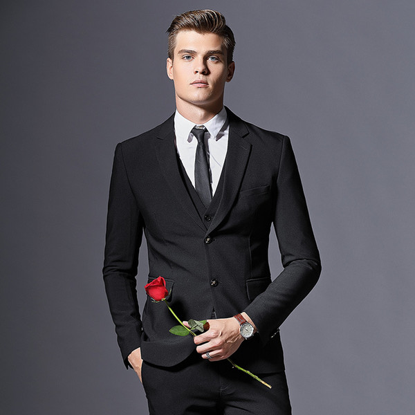 British style Mens suits men's business casual clothing three-piece suit wedding suits for men