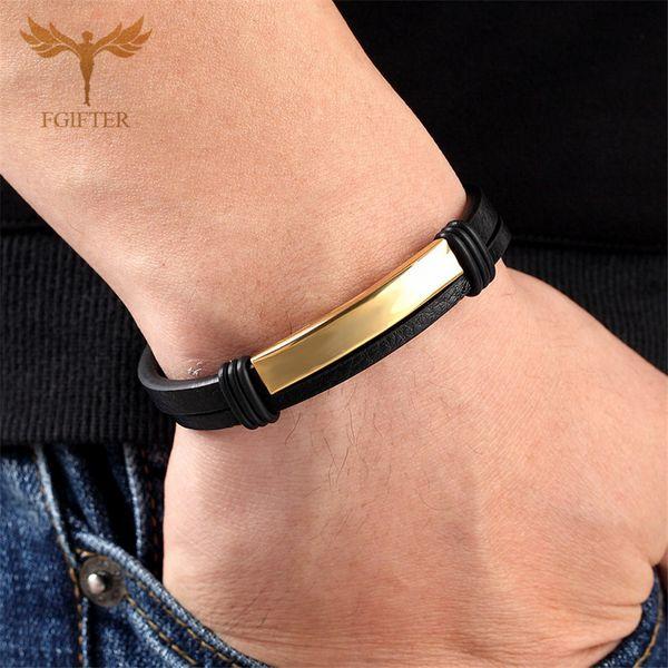 Femmes Hommes Noir en Cuir Véritable Acier Inoxydable Handmade Cuff Bracelet Bracelet