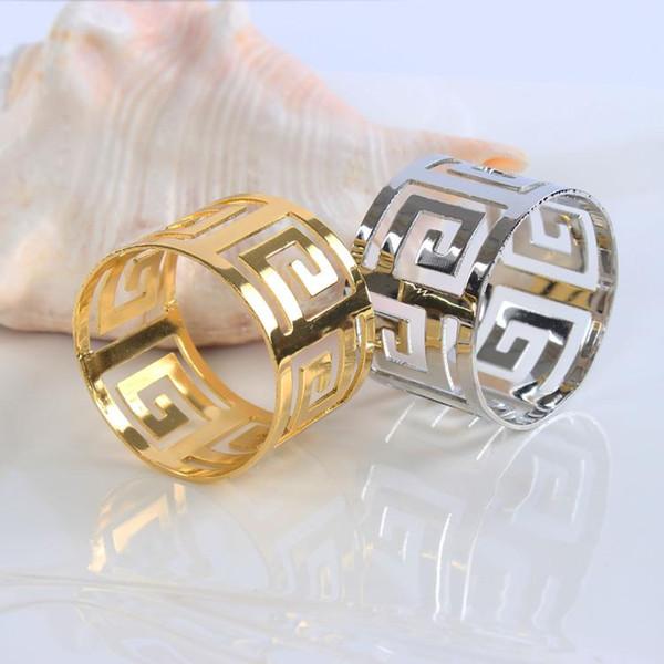 Atacado-10 pçs / lote restaurante guardanapo fivela guardanapo de metal anéis de guardanapo de ouro anéis estilo oco com diâmetro 4.5 cm servilleteros