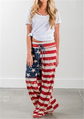 Горячие продажи в Европе мода вспышки брюки американский флаг печать случайные свободные шаровары женщин легкий вес полиэстер Капри Брюки S-XL размер