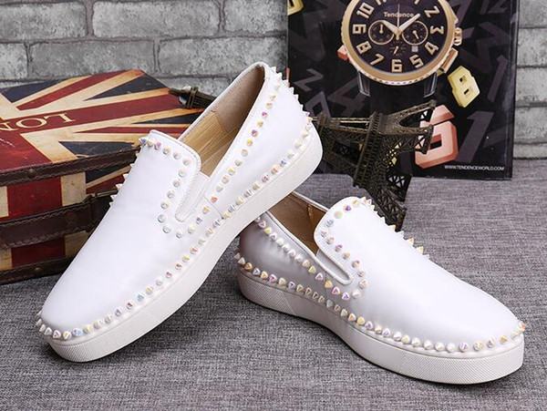 drop shipping casual New Fashion Casual Flats Red Bottom Luxury Shoes low Top Studded Spikes Men leisure trainer footwear Skateboarding d08
