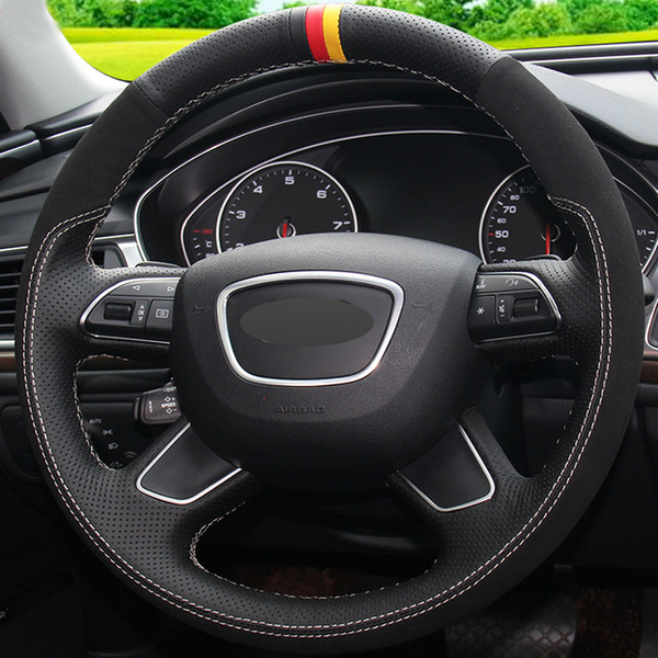 Capa de volante de camurça de couro genuíno preto para Audi Q7 2012-2015 Q3 Q5 2013-2016 A4 (B8) 2014 2015 A6 (C7) 201