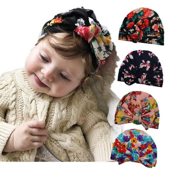 Boho Kids Baby Girl Hat Elastic Flower Printed Baby Turban Hats Children Girl Bowknot Cotton Beanie Cap 0-5Years