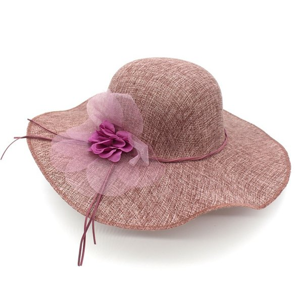 2019 Summer Fashion Women Floppy Linen Sun Hat With Floral Wide Large Brim Caps Beach Travel Foldable Solid Hats UV Protection