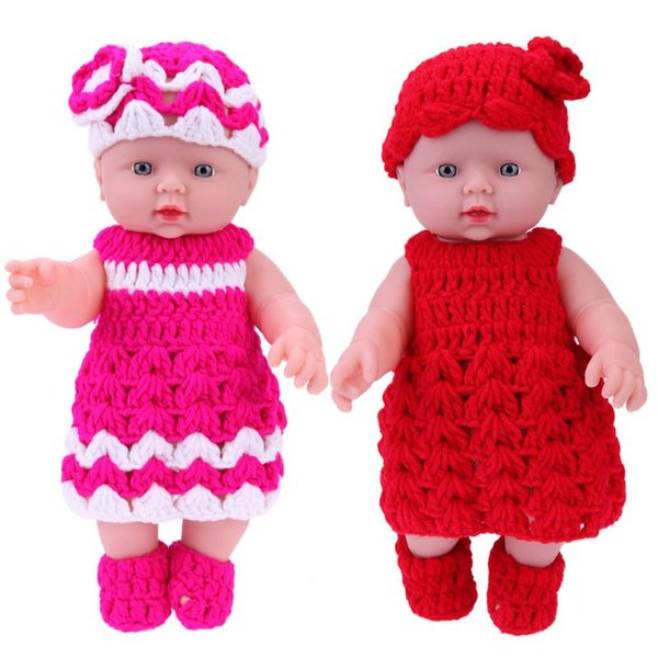 Accessories Dolls 30cm Vinyl Baby Dolls Kids Bathing Playmate Children Simulation Doll + Knit Dress Outfits Baby Toys for Girls
