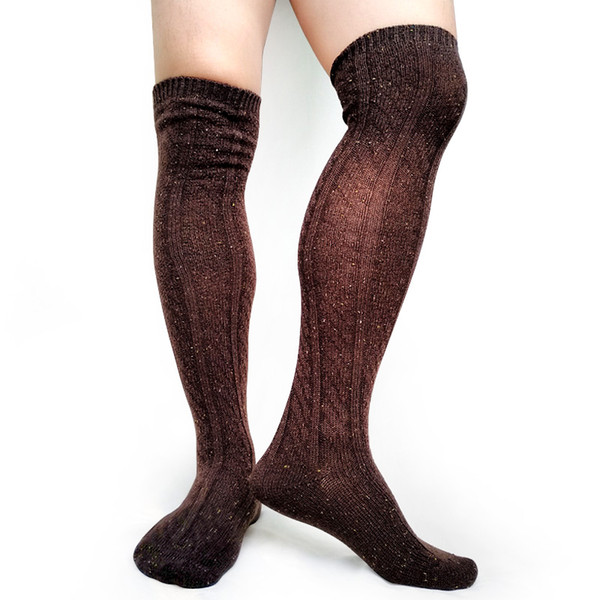 Winter Thick Socks Mens Over Knees Formal Business Stocking Sexy Fashion Male Long Socks Hose Cotton Knitted Man Stocking