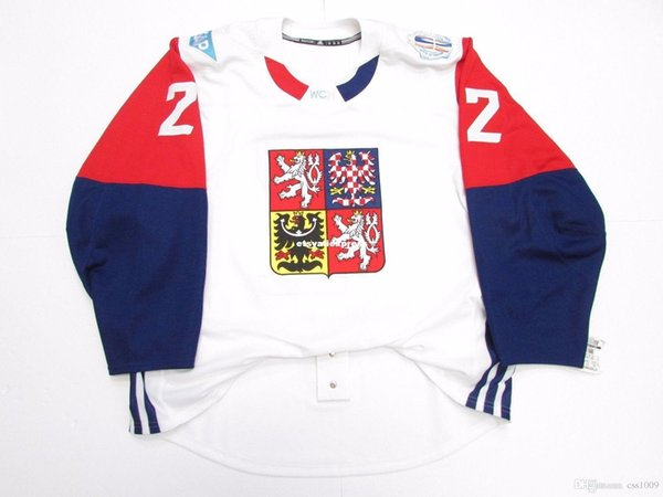Cheap custom FAKSA CZECH REPUBLIC GAME ISSUED 2016 WORLD CUP OF HOCKEY JERSEY stitch add any number any name Mens Hockey Jersey XS-6XL