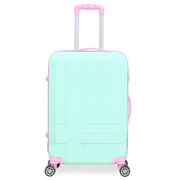 Women Spinner Color Block Luggage 20 Inch Carry-on 24 Inch Suitcase ABS Material High Quality School Trunk Travel Case