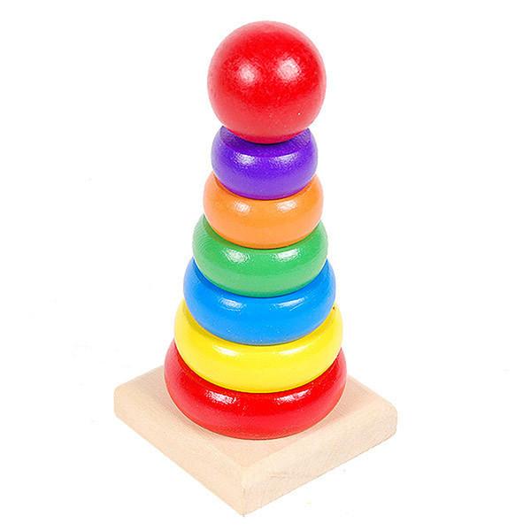 per bambini Bambini Baby Impilamento in legno Ring Tower Blocchi di graffatura Apprendimento educativo Per bambini Rainbow Stack Up Giocattoli in legno