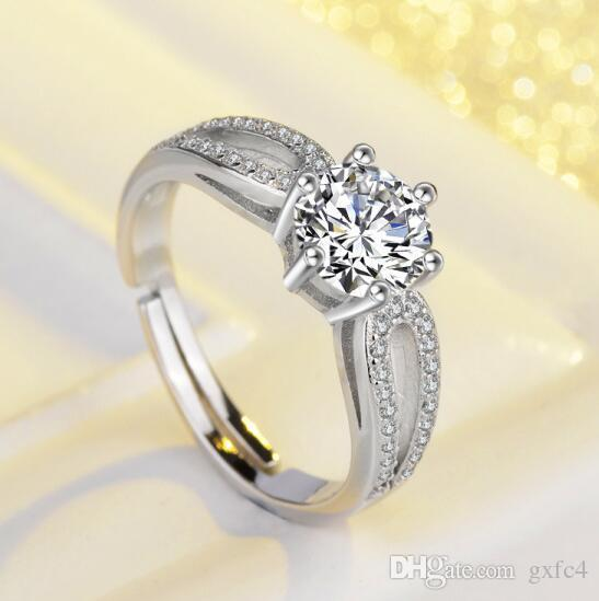 Classical 0.63ct Princess Cut Shiny CZ Stone Brand Engagement Solitaire Ring Wedding Rings For Women
