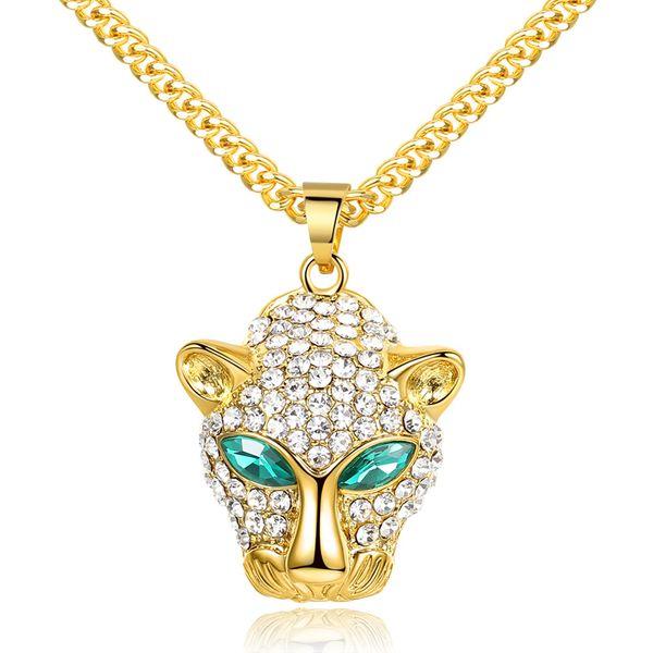 Hip Hop Green Eyed Leopard Kopf Anhänger Halsketten Hohe Qualität Vergoldet Strass Halsketten Für Männer Modeschmuck