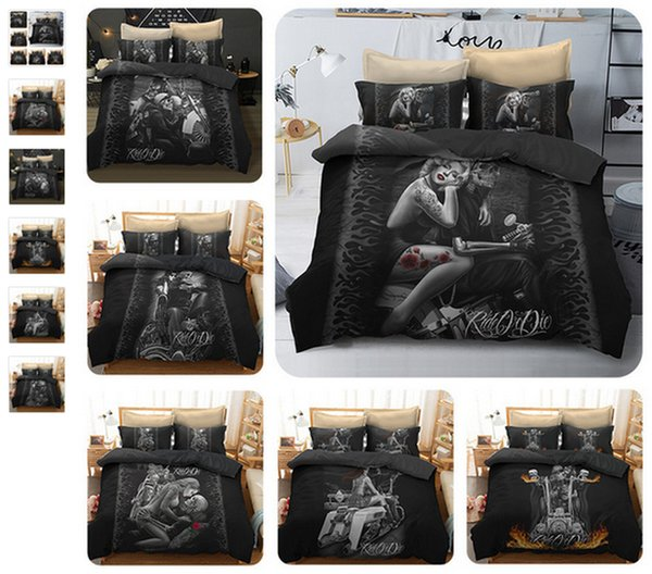 3D Motorcycle Duvet Cover Cool Skull Print Women Skull Bedding Sets Queen  Size Sugar And Black