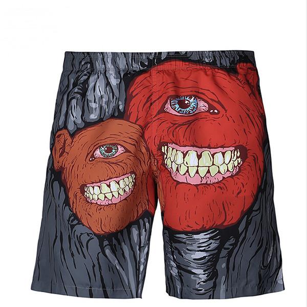 Men's Wear 3D Printed Beach Pants Sports Fitness Shorts Panties Knee Length Shorts