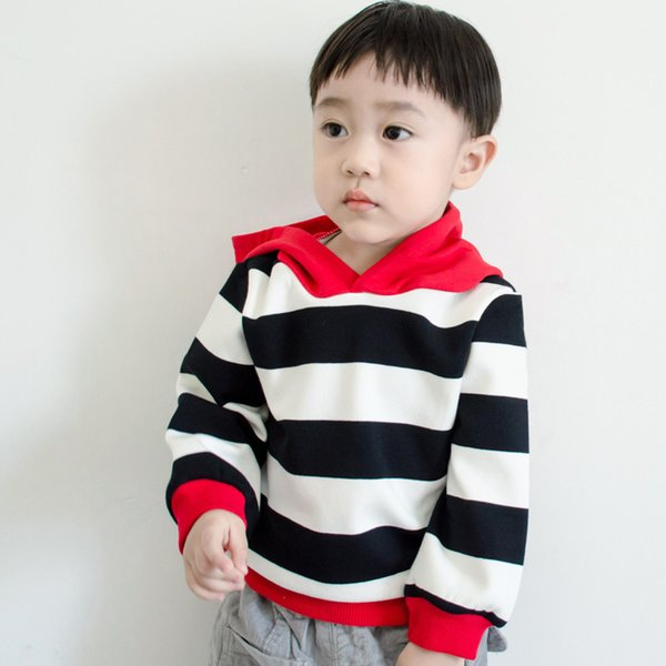 Baby Boy hoody Spring autumn Kids Fashion Stripe sweatshirt for Children's Hooded pullover Jacket coat toddler baby clothes