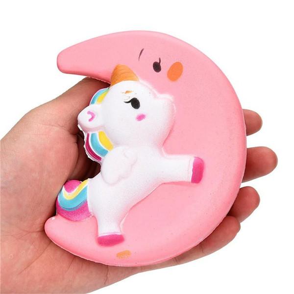 INS Squishy Slow Rising Unicorn Moon Flash Powder Charms Jumbo Kawaii Phone Straps Pendant Stress Reliever toys kids Christmas Birthday Gift