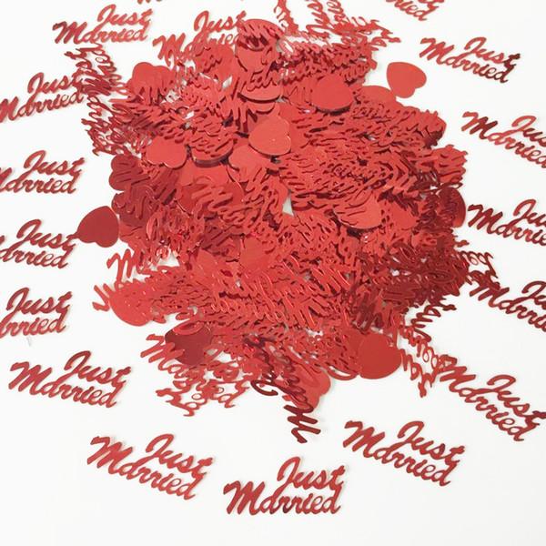 150g Rouge Juste Marié Lettre Tableau Scatter Mariage Anniversaire Saupoudrer Fiançailles Amour Coeur Fête De Mariage Confetti Décoration