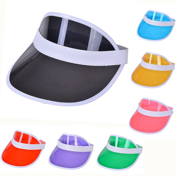 top popular sun visor sunvisor party hat clear plastic cap transparent pvc sun hats sunscreen hat Tennis Beach elastic hats WCW482 2020