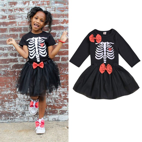 Neonata Gonna Completo Bambino Neonata Halloween Manica lunga Abito scheletro umano Halloween Tema Designer Abbigliamento Garza Gonna con fiocco 06