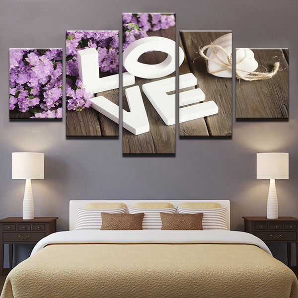 Full Square /round drills 5 Panels Purple Hyacinth Love Picture Flowers Diamond Painting 5D DIY Diamond Embroidery Sale Mosaic