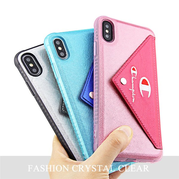Designer Champion Envelope Phone Case Wallet For IPhone x xr xs max Patchwork Credit Card Slot Coin Purse Key Pouches Cover for iphone C7302
