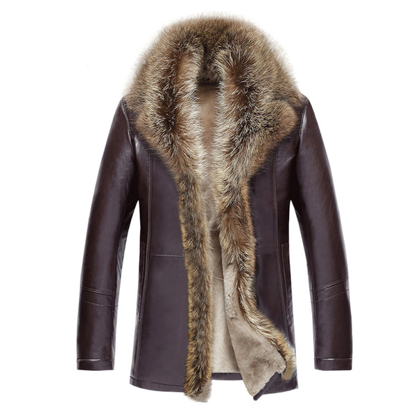 2018 Winter Fur Men's Leather Jacket Fashion Wool Genuine Leather Jacket Male Warm Overcoats Long Motorcycle 4XL 5XL 50