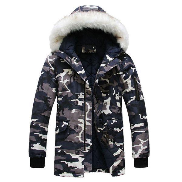 New Camouflage Down Parkas Jackets Men 'S Parka Hooded Coat Male Fur Collar Parkas Winter Jacket Men Military Down Overcoat