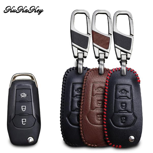 KUKAKEY Genuine Leather Car Key Case For Fusion Mondeo EVEREST Ecosport Ranger Escape Leather Keychain Key Cover Holder