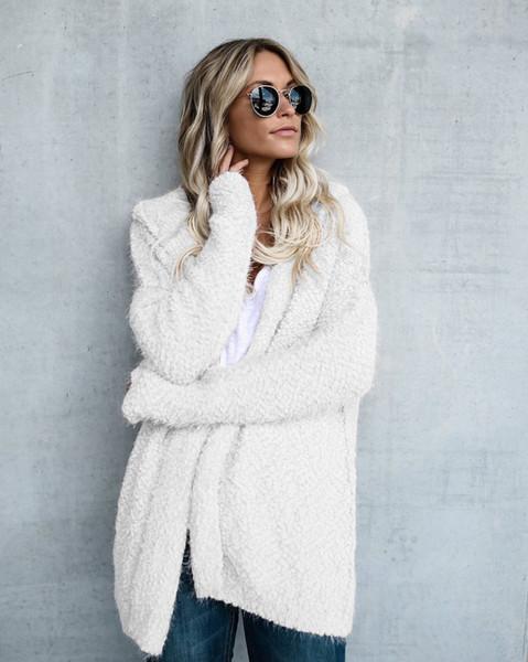 Nova Moda Longo Cardigan Casaco Parka das Mulheres À Prova de Vento Jaqueta De Algodão Jaqueta Quente Com Capuz Solto Casual Casaco Blusa