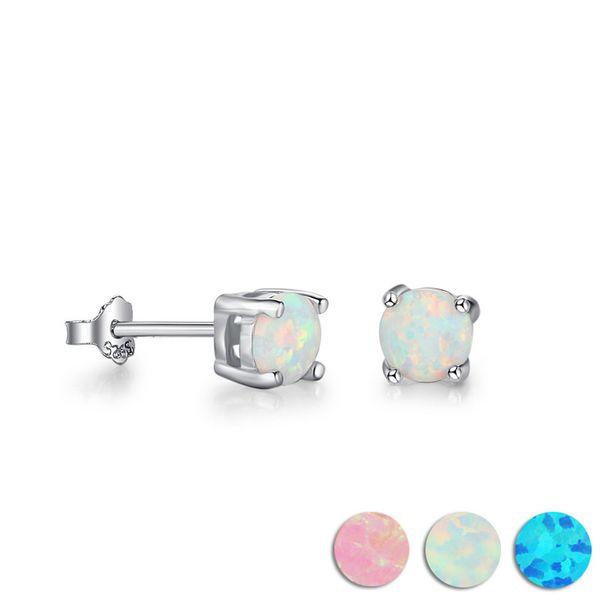 Sterling Silver 925 Jewelry Round Created Blue Pink White Opal Earrings for Women 925 Sterling Silver Stud Earrings